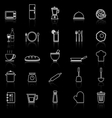Kitchen line icons with reflect on black vector image vector image