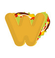 letter w tacos mexican fast food font taco vector image vector image