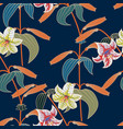 lily seamless pattern with trendy color spring vector image