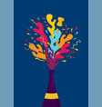 new year colorful party champagne bottle splash vector image vector image