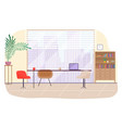 office workplace interior design flat vector image vector image