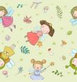 pattern with cute cartoon fairies fairy elves vector image