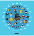 pirate attributes cartoon composition vector image vector image