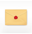 Realistic envelope with wax stamp vector image