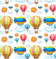 Seamless background with balloons in the sky vector image