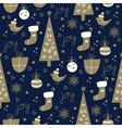 seamless christmas pattern dark vector image vector image