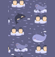 seamless pattern with cute antarctic animals vector image