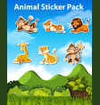 set of animal sticker vector image vector image