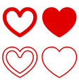 set of graphic heart icons on white background vector image vector image