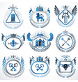 set of old style heraldry emblems vintage vector image