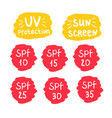 spf uv sun screen protection icons set vector image vector image