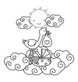 stork with cradle in black and white vector image vector image