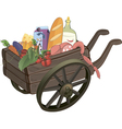 The cart with products cartoon vector image vector image