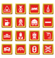 train railroad icons set red square vector image vector image