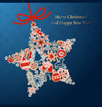 vintage christmas star card with xmas icons vector image vector image