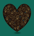 Vintage romantic heart with golden flowers vector image