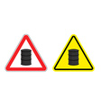 Warning sign of attention barrel of oil Yellow vector image vector image