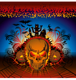 angry halloween skull with bats and witch vector image