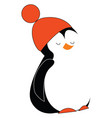 a cute bapenguin wearing a red warm pompom hat vector image vector image