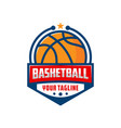 basketball emblem logo design template vector image vector image