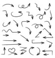 black filigree arrows hand drawn icons vector image vector image