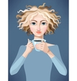 Blonde girl with coffee vector image vector image