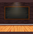 chalkboard on brickwall in room with wooden floor vector image