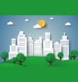 cityscape eco city paper art style vector image vector image