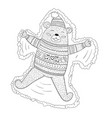 coloring page adorable brown bear vector image