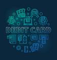 debit card round blue outline vector image