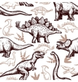 Dinosaurs footprints seamless pattern two-color vector image vector image