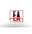 ea e a logo letters with red and black colors and vector image vector image