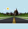 empty road with mountains and hills on background vector image vector image