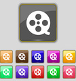 Film icon sign Set with eleven colored buttons for vector image vector image