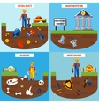 Flat Color Archeology Design Concept Set vector image