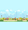flat style of people doing sports in park vector image