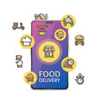 food delivery service app concept with realistic vector image