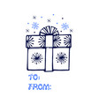 hand drawn gift box and snowflakes isolated vector image vector image