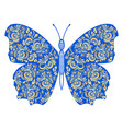 hand drawn golden ornate butterfly in blue vector image vector image