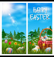 happy easter vertical banner on grass background vector image vector image