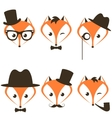 hipster fox icons set vector image vector image
