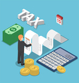 Isometric businessman calculate document for taxes vector image vector image