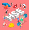 isometric flat concept hse health vector image