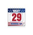 memorial day calendar 2017 vector image vector image