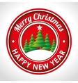merry christmas emblem happy new year tree and vector image vector image