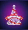 merry christmas tree neon sign vector image vector image