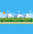 mountain park concept wooden bench vector image