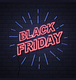 neon sign black friday big sale open on brick vector image