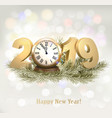 new year holiday background with a 2019 and clock vector image vector image