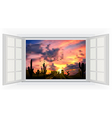 Opens window in room with view of cactus tree vector image vector image